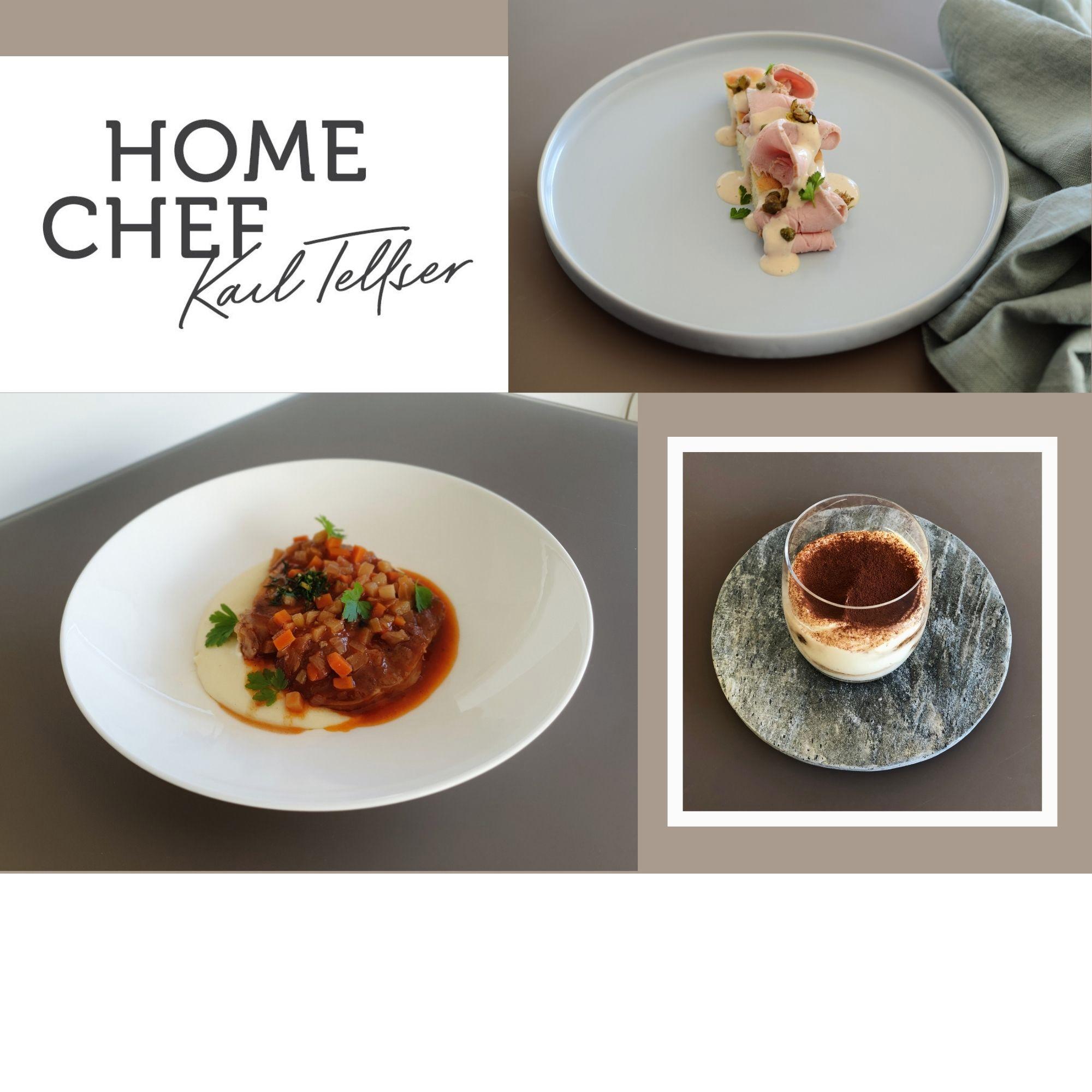 Vitello tonnato / Hausgemachte Focaccia / Ossobuco vom Kalb / Kartoffelpüree / Gremolata / Tiramisù