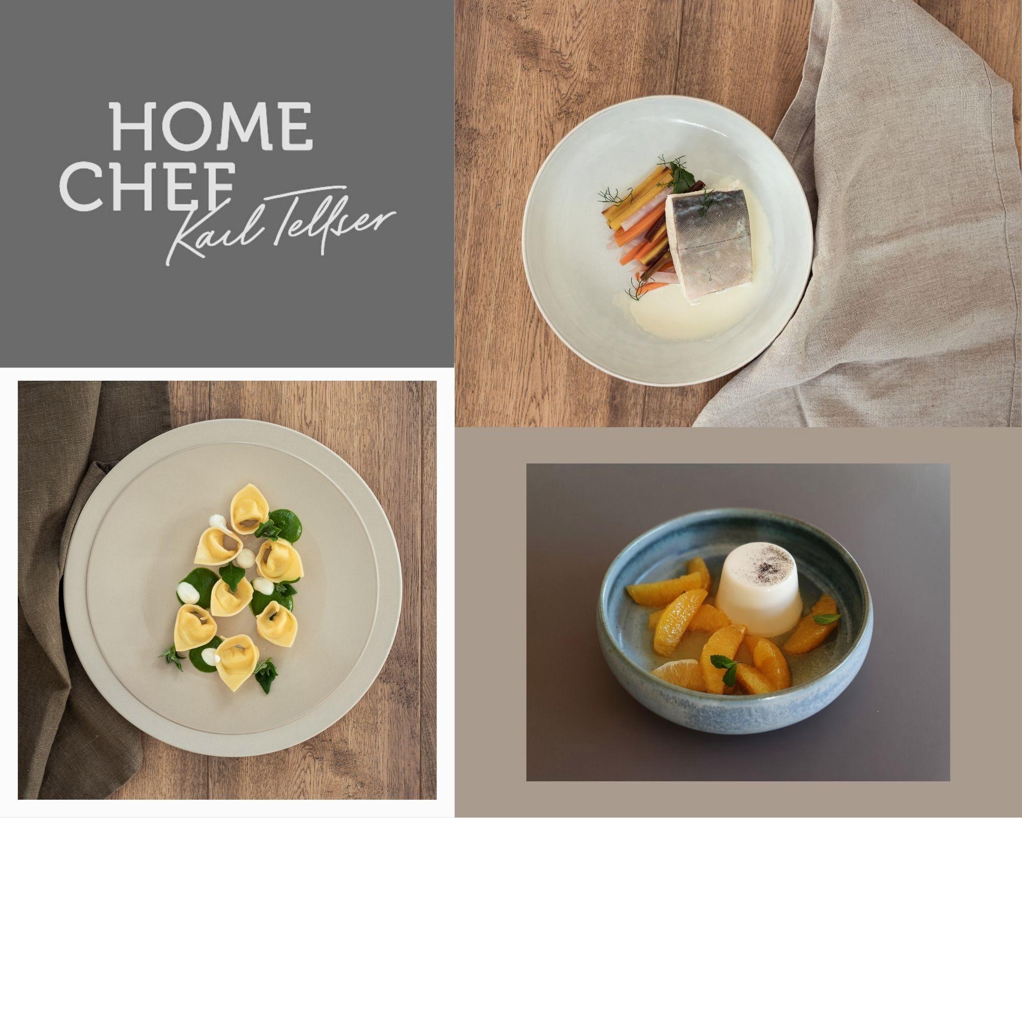 Hausgemachte Tortelloni / Käsefonduta / Spinatcreme / Walnüsse / Saibling / Wurzelgemüse / Meerrettichsauce / Panna cotta / Glasierte Orangen