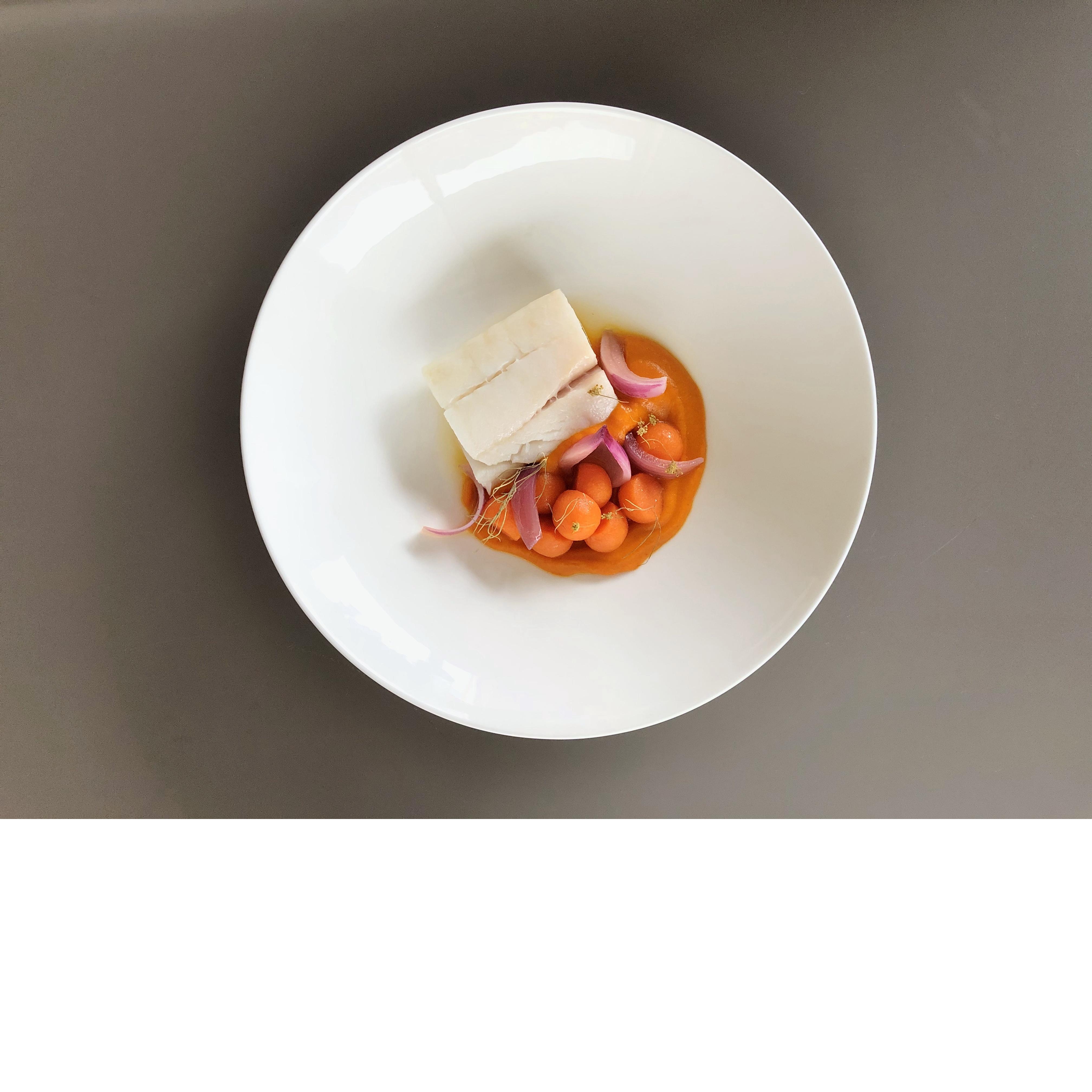 Kabeljau / Kürbispüree / Kürbisgemüse / Glasierte rote Zwiebeln